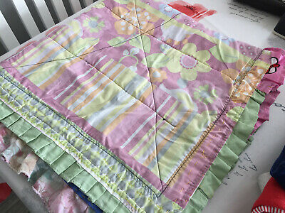 Gorgeous Hand Made Patchwork Baby Quilt For Cot Or Pram - Reversible - Vgc