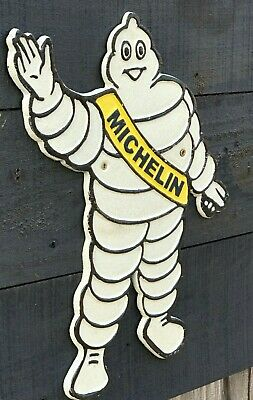 Michelin Man Silhouette Cast Iron Plaque Sign - Michelin Tyres Vintage Retro