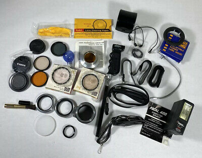 Vintage Camera Accessories Lot Mixed Nikon Argus Sync Cables Flash Filter Lenses