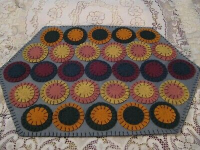 Primitive Wool Applique Spring Layered Pennies Penny Rug/ Table Candle Mat