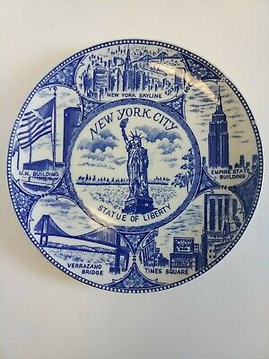"""Vintage New York Statue Of Liberty State Collectible Souvenir Plate 9.25"""" Wide"""