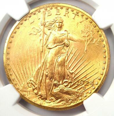 1924-D Saint Gaudens Gold Double Eagle $20 - NGC Uncirculated Details (UNC MS)