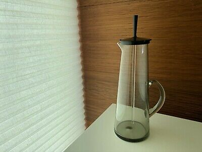 Mid Century Holmegaard Smoked Glass Martini Pitcher With Lid