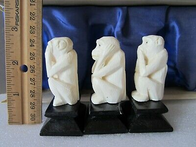 "Old Chinese Carved Three Wise Monkeys ""Hear No Evil, See No Evil, Speak No Evil"""