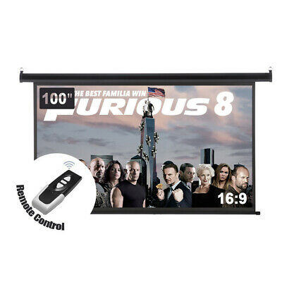 "100"" 16:9 160° Electric Motorized HD Projector Screen Wall Ceiling Home Theater"