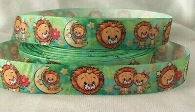 """Lion Grosgrain Ribbon 1"""" wide sold by 2m -Craft - Dummy clips etc"""