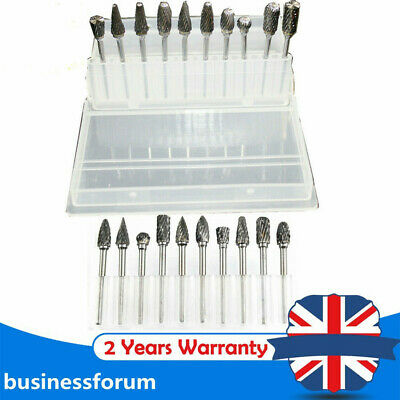 10pc Tungsten Head Carbide Burrs For Rotary Drill Die Grinder Carving Steel Bit