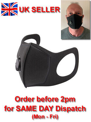 Washable Face / Dust Mask with Respirator Vent - Black - Elasticated Fit - UK