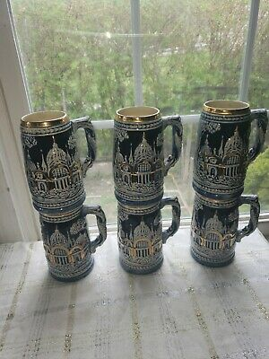 Vintage Beer Steins of Blue & Gold (Set of 6)