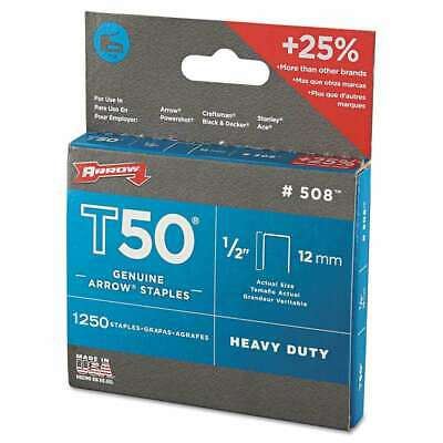 "Arrow T50 Heavy Duty Staples, 1/2"" Leg, 1250/Pack 079055500124"