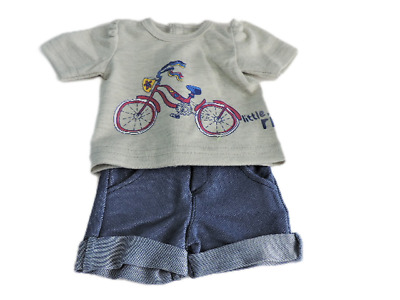 "Doll Clothes 18"" Shorts Jean Pink Shirt Grey Bicycle Summer Fits AG Dolls"
