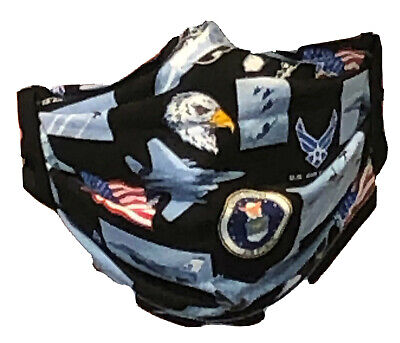 COTTON FABRIC FACE MASK - US AIR FORCE - Hand Made in Montana - WASHABLE