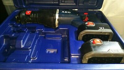 AEG 18v Cordless BUS 18X RECIPROCATING Saw 2 Batteries, Case in working order