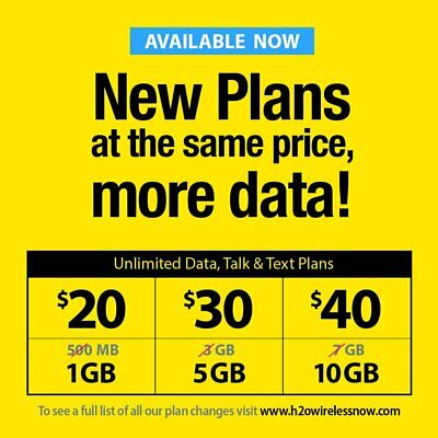 H2O Wireless SIM CARD + $30 1st MONTH INCLUDED PREPAID Unlimited