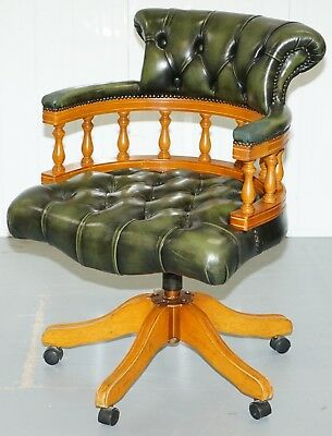 Yew Wood Chesterfield Directors Green Leather Executive Captains Office Chair
