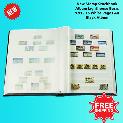 New Stamp Stockbook Album Lighthouse Basic 9 x12 16 White Pages A4 Black Album