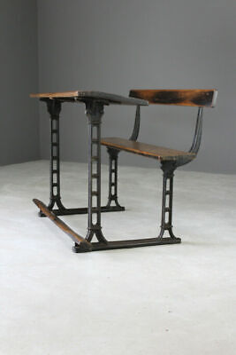 Antique Oak & Cast Iron School Desk