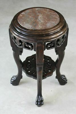 Antique Marble Top Chinese Plant Stand Jardinere Side Table