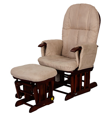Tutti Bambini Reclining Glider Chair & Stool – Walnut with Cream - Ex Display