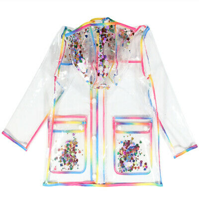 Girls Rainbow Rain Jackets with Hood Transparent Rain Coats
