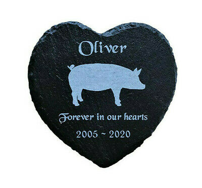 Personalised Engraved Slate Stone Heart Pet Memorial Grave Marker Plaque Pig