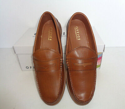 Mens Tan Leather Shoes New Formal Slip On Loafers Wedding Office UK Size 7-12