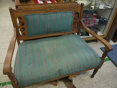 Antique Victorian Carved Wooden Upholstered Love Seat Settee