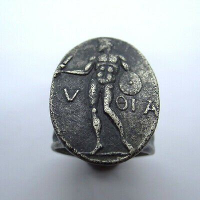 Greek Ancient Artifact Silver Massive Ring With Spartan Inscription V Oia