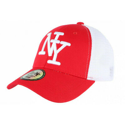 Casquette NY Rouge Filet Blanc Trucker Baseball Classe Gybz