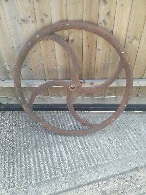 "Old Salvaged Vintage Cast 35""  Iron  Flywheel Pulley Machine Drive Wagon Wheel"