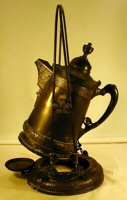 Derby Art Nouveau Quadruple Silver Plate Tilting Tea / Coffee Pot w/ Stand