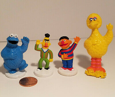 Vintage 1985 Sesame Street Mini Figures Bert Ernie Cookie Monster Big Bird AS IS