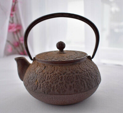 Small Vintage Japanese Cast Iron Tetsubin, Tea Pot, Cherry Blossoms