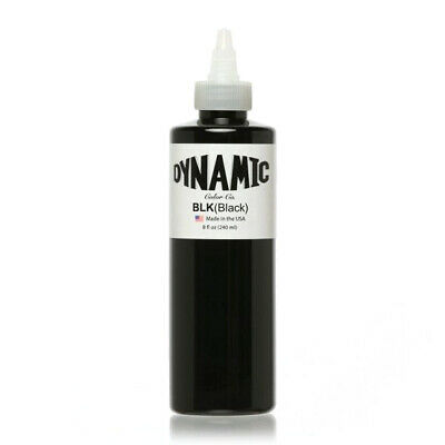 Dynamic Tattoo Ink Black Large 8oz Size Bottle Lot# 32026010 Or Later