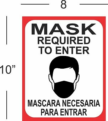 Must Wear Mask (2) Stickers / 8X10 In. Sign / Full Color For Door Or Window