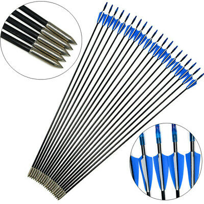 """31"""" Archery Fiberglass Arrows Outdoor Target Points Recurve Bow Shooting Hunting"""