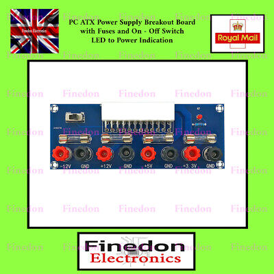 PC ATX Power Supply Voltage Breakout Board with Fuses LED and Switch UK Seller
