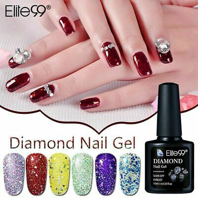 Elite99 Diamond Glitter Gel Nail Polish Manicure No Wipe Top Base Coat Lacuquer