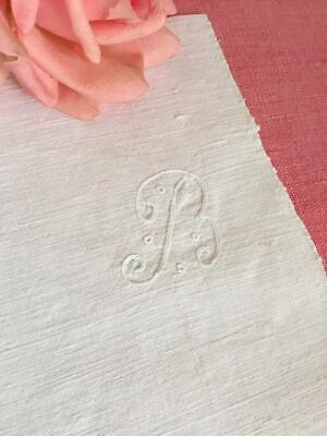 Lovely Antique French Linen Metis Embroidery Monogram 'B' Monogram Only Chain