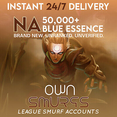 [NA 50K+]League of Legends Unranked Account NA SMURF LoL 50,000 - 60,000 BE IP