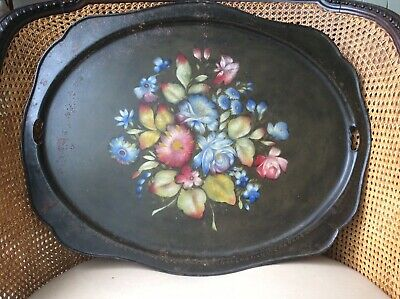 Large Antique Victorian Black Hand Painted Floral Tin Toleware Serving Tray