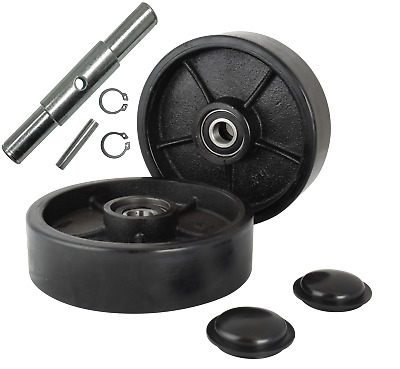 """Pallet Jack/Truck Steering Wheels 7"""" Set with Axle, Fasteners & Protective Caps"""