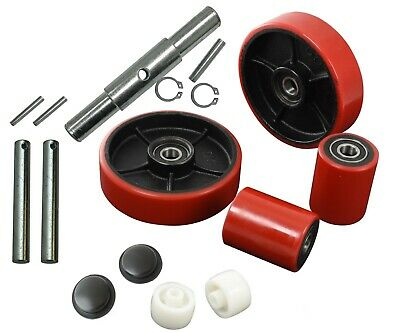 Pallet Jack/Truck Poly Wheels Full Set with Axles, Bearings, Entry Rollers, Caps