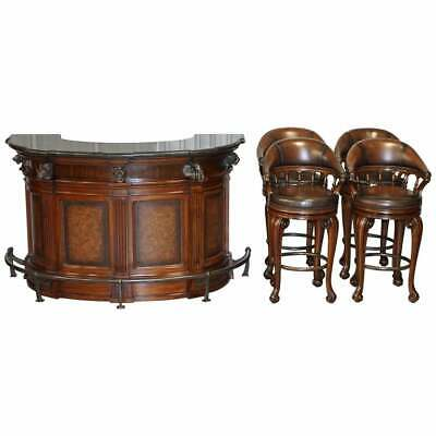 Rare Ernest Hemingway Trophy Home Bar & Four Brown Leather Revolving Bar Stools