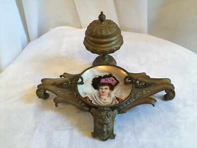 Antique BRONZE French INKWELL 19th C w Devil Head, Hand Painted Porcelain Plate