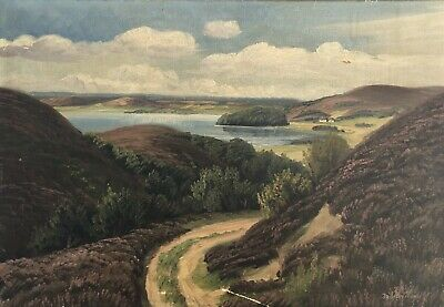 Old Oil Painting Wide Landscape at Se with Blooming Heide 45 x 65 cm Antique