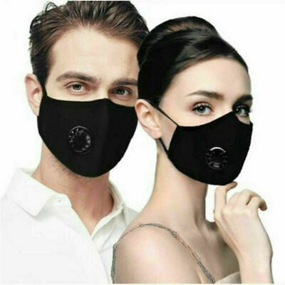 2 reusable black cotton face mask with valve, + 4 PM2.5 filters, US seller