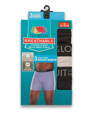 """Fruit of the Loom® BIG MEN'S 3-PACK BOXER BRIEFS  """"BREATHABLE-COOLING COTTON"""""""