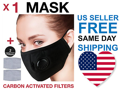 1 reusable black cotton face mask with valve, + 2 PM2.5 filters, US seller