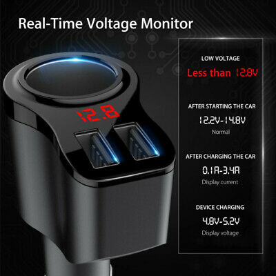 Auto Car Charger Power Cigarette Lighter Dual-USB Ports Socket Adapter Replaces